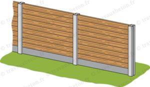 cloture bois avec soubassement beton