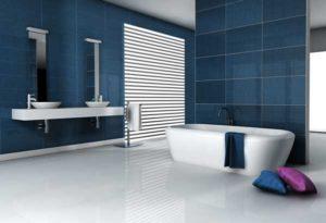 salle de bain avec sol type béton ciré blanc
