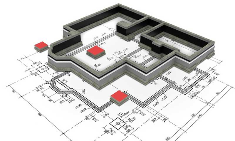 fondation plan maison avec semelle isolee et semelle filante