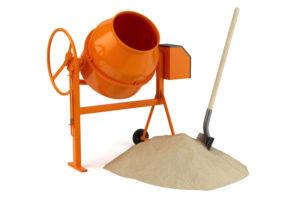 Bétonnière avec sable