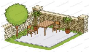 terrasse en béton 60m2