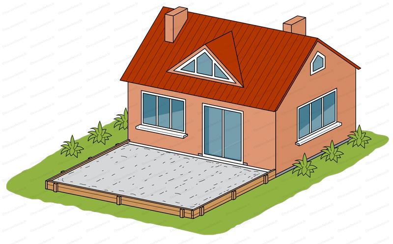 terrasse beton contre maison