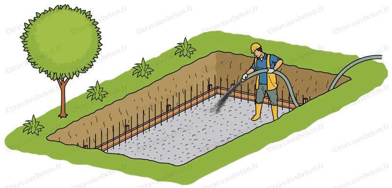 pose radier beton piscine